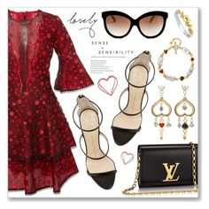 """Outfit of the Day"" by dressedbyrose ❤ liked on Polyvore featuring Costarellos, Giuseppe Zanotti, Louis Vuitton, BERRICLE, Italia Independent and polyvoreeditorial"