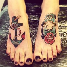 .anchor and compass foot tattoo
