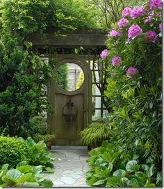 secret garden, gate, pink, circle door