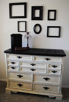 Dresser redo.  Love it//. I love everything about this!!!!  The empty frames need a little more balance, maybe switch the two opposite corner frames so the bigger one is on the bottom.