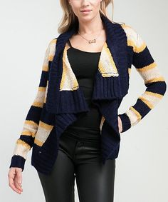 Take a look at this Navy & Mustard Stripe Open Cardigan on zulily today!