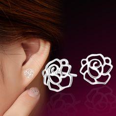 Bersun 2016 New Fashion Fresh Pastoral Temperament Stud Earrings Silver Plated Peony Rose Women Earrings Jewelry Wholesale