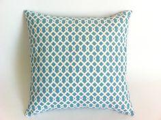 Euro Sham: One Light Blue and Ivory Decorative Throw Pillow Covers Fretwork Trellis Print 24x24 or 26x26