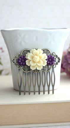Ivory Chrysanthemum, Amethyst Purple, Dark Egg Plant Flower Comb. Antiqued Brass Mum Flower Hair Comb. Bridesmaid Gift. Purple Wedding Idea. By Marolsha.