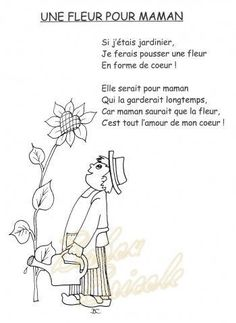 Fête des Mères - Mother's Day in French - cute little poem(Pour Maman) Mother Poems, Mothers Day Poems, Mothers Day Crafts, Mother And Father, Father Songs, French Poems, Cadeau Parents, French Days, Mather Day