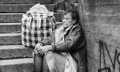 The former president of Finland Tarja Halonen posing as a homeless person.