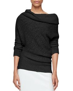 W0GMB Calvin Klein Collection Draped Off-Shoulder Sweater