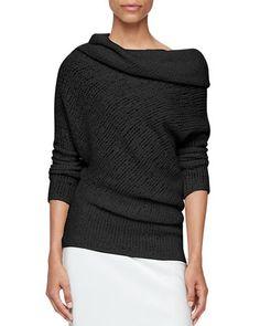 B3QQE Calvin Klein Collection Doodle Cowl-Neck Long-Sleeve Sweater