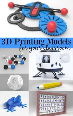 3D Printing Models for your Classroom - PIN this NOW! BEST roundup of free 3D printing files and models for education that I've come across. Plus she's a Dremel Ambassador for their 3D printer Idea Builder.