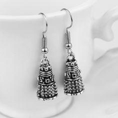 Movie Dr Doctor Who Dalek Earrings Vintage Antique Silver Alien Robot Drop Earrings for Women and Men Movie Jewelry