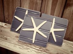 Navy Starfish Plaques  Wall decor  Set of  3  by VintageShore, $25.00