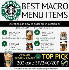 Macro-Friendly Starbucks Orders: Just in Time for PSL Season! Macro Friendly Recipes, Macro Recipes, Macro Nutrition, Nutrition Guide, Proper Nutrition, How To Order Starbucks, Counting Macros, Macros Diet, Healthier Together
