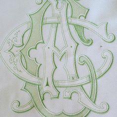 "Pretty 12"" green vintage monogram on pillow sham #vintagemonograms #monogrammedpillow #eurosham #vintagemonogram #custommonogram #custommonograms #monogrammedlinens"