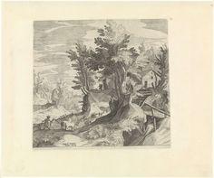 Johann Sadeler (I)   Landschap met twee herders en een kudde, Johann Sadeler (I), Aegidius Sadeler, Anonymous, 1580 - 1600   Een landschap met enkele bomen. Twee herders drijven een kudde van koeien en schapen een heuvel op richting een herberg.