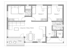 Small & Affordable House Plan, three bedrooms, open planning, CH63. Floor Plan.