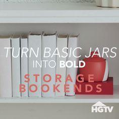 How to Transform Basic Bookends – Diy Home Decor Cheap Home Decor, Diy Home Decor, Do It Yourself Decoration, Home Decor Catalogs, Bookshelves Kids, Bookcases, Graduation Diy, Home Decor Fabric, Fabric Crafts
