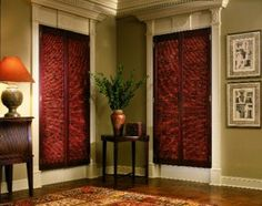 Interior Window Shutters With Fabric Inserts : interior shutters with fabric inserts  ... using woven-wood inserts ...