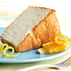 Citrus Angel Cake   Angel food cake earned its low-calorie reputation for a reason. Made from egg whites and citrus juices, our version has just 152 calories per serving and no fat or cholesterol.