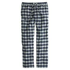 J.Crew men's flannel pajama pant in navy plaid.
