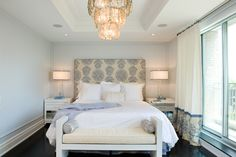 Taylor Hannah Architect: Gorgeous ivory & blue master bedroom design with cream & blue custom headboard, glossy ...