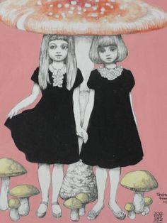 Higuchiyuko, illustrator from Seoul. ヒグチユウコ画 きのこ展出品作品   2012年 ★大好きすぎて売れなかった作品です。。
