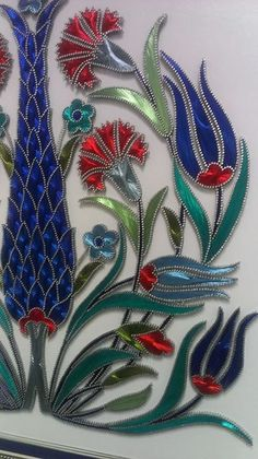 1 Easy Crafts For Kids, Diy And Crafts, Arts And Crafts, Paper Embroidery, Hand Embroidery Designs, Arte Linear, String Art Patterns, Stained Glass Flowers, Turkish Art