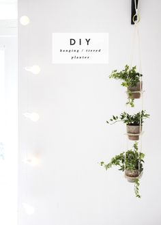 hang out DIY hanging tiered planter - this looks so easy to make and would cheer up an otherwise dull corner in our home! // via hanging tiered planter - this looks so easy to make and would cheer up an otherwise dull corner in our home! Diy Hanging Planter, Diy Planters, Clay Planter, Hanging Pots, Window Hanging, Concrete Planters, Indoor Planters, Hanging Shelves, Indoor Gardening