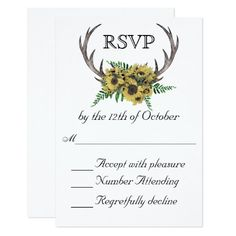 Rustic Antlers Boho Sunflowers Wedding RSVP Card - With enchanting rustic boho style, this wedding RSVP Card design features deer horns beautifully embellished with a bouquet of sunflowers and greenery. Include your required RSVP response date in place of the sample text shown. Sold at Oasis_Landing on Zazzle.
