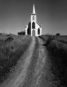 Ansel Adams photo. #semiphoto Along with graveyards, photos of churches are intriguing to me. And the black and white is stunning.