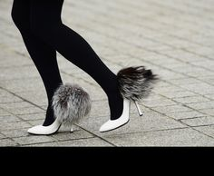 fluffy white shoes
