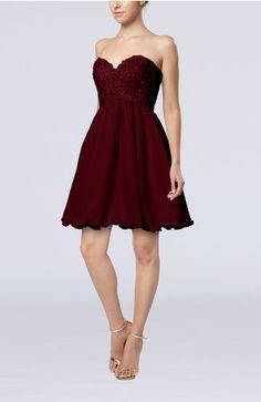 Burgundy Cute A-line Sweetheart Sleeveless Lace up Short Graduation Dresses - iFitDress.com