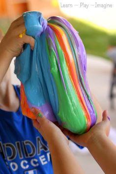 Rainbow slime recipe Supplies: liquid starch school glue liquid watercolor paint or food coloring Preschool Crafts, Crafts For Kids, Diy Crafts, Preschool Learning, Teaching, Kids Diy, Preschool Ideas, Homemade Slime, Diy Slime