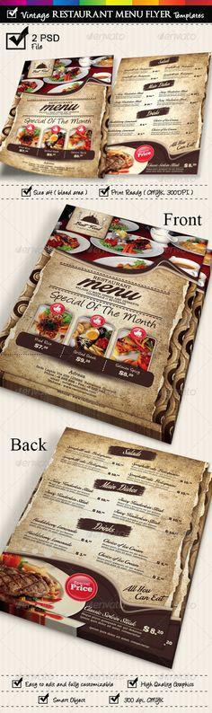 Restaurant Menu Flyer Templates Vintage Texture