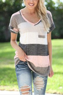 Fashion Random Colour Block Stripe T-shirt