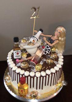 Alcohol Birthday Cake, 21st Bday Cake, 19th Birthday Cakes, Barbie Birthday Cake, Alcohol Cake, Funny Birthday Cakes, Adult Birthday Cakes, Birthday Beer, Barbie Torte