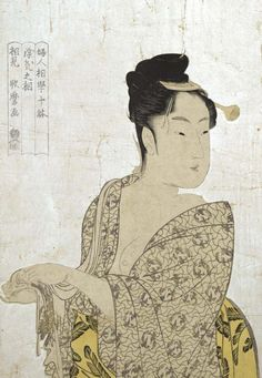 Print of a capricious young woman posing casually while wringing a towel (18th century) | Tokyo National Museum • JaKitagawa Utamaro. Important Cultural Property.