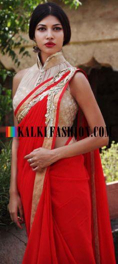 Buy Online from the link below. We ship worldwide (Free Shipping over US$100) http://www.kalkifashion.com/gaurav-gupta-pre-draped-red-saree.html Gaurav Gupta pre draped red saree
