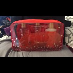 Brand new Victoria secret gift set Includes bag, headband, eye mask, body lotion, body wash, cleansing wash. All brand new. Victoria's Secret Bags Cosmetic Bags & Cases