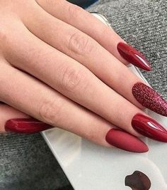 42 charming red nail art designs to try this summer nails, nail polish, nail polish . Red Nail Art, Red Acrylic Nails, Cute Nails, Pretty Nails, Red Stiletto Nails, Glitter Nails, Coffin Nails, Gold Glitter, Nagel Blog