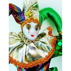 Coachella Rainbow Harlequin Doll Porcelain Clown Doll Jester Green... ($19) ❤ liked on Polyvore featuring home and home decor