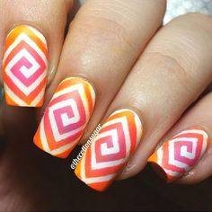 Amazing gradient time! Awesome use of our square swirls by @thecottonsugar! - Square Swirl #NailVinyls  www.snailvinyls.com