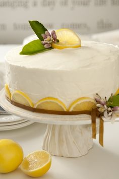 Lemon cake~ love the half lemon wedges lining the bottom~ Lemon Desserts, Lemon Recipes, Just Desserts, Delicious Desserts, Dessert Recipes, Pretty Cakes, Beautiful Cakes, Amazing Cakes, Cupcake Cakes