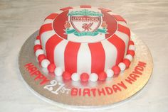 Liverpool Birthday Cake 21st Birthday Themes, 7th Birthday Cakes, Birthday Ideas, Football Themed Cakes, Football Birthday Cake, Liverpool Cake, Dad Cake, Pastries