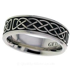 Geti Flat Titanium Celtic Weave Ring