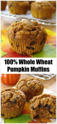 Whole Wheat Pumpkin Muffins - Ingredient swaps make this recipe healthy. We make these all year long because they are so moist and delicious!