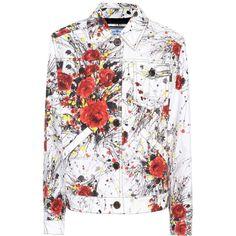 Prada Printed Denim Jacket ($1,345) ❤ liked on Polyvore featuring outerwear, jackets, jacket's, multicoloured, colorful denim jackets, white denim jacket, prada jacket, prada and jean jacket