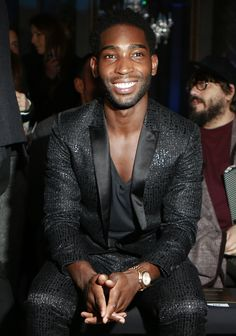 """celebritiesofcolor: """" """" Tinie Tempah attends the Roberto Cavalli Men's Fashion Show in Milan """" """""""