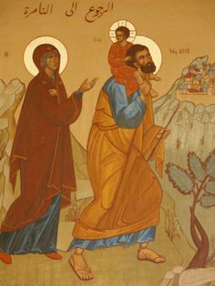 Melkite icon of the Holy Family Returning to Nazareth. Love that Joseph is carrying Jesus on his shoulders!