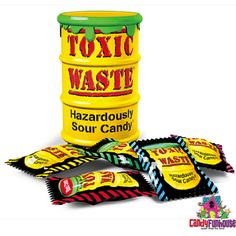 Many Sour Candy Lovers think Toxic Waste Hazardously Sour Candy is the Most Sour Candy Ever! This Sour Candy will make your face pucker and your feet quiver. Toxic Waste Candy, Toy Containers, Nostalgic Candy, Shop America, Online Candy Store, Laffy Taffy, Retro Candy, Dumpster Diving, Retro Sweets