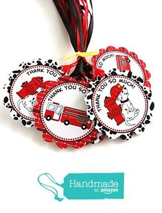 Firefighter Dalmatian Thank You Favor Tags - Fire Rescue Birthday Baby Shower Party Tags - Set of 12 from Adore By Nat https://www.amazon.com/dp/B06ZZQ4ZFB/ref=hnd_sw_r_pi_dp_90OszbTHHK4JV #handmadeatamazon